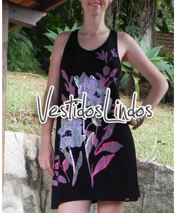 Moda feminina - Vestido flores com paets