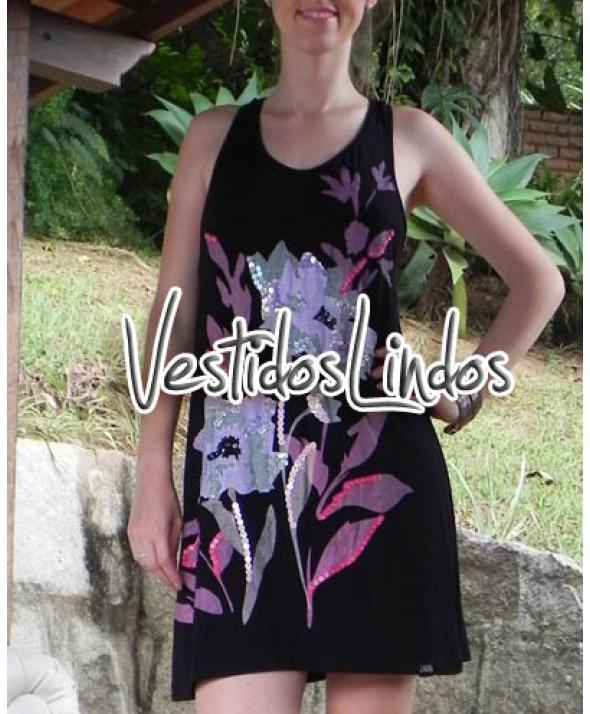 Moda feminina - Vestido flores com paetês