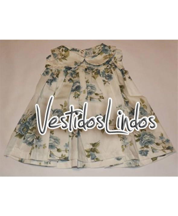 Moda infantil - Vestido Florido Azul