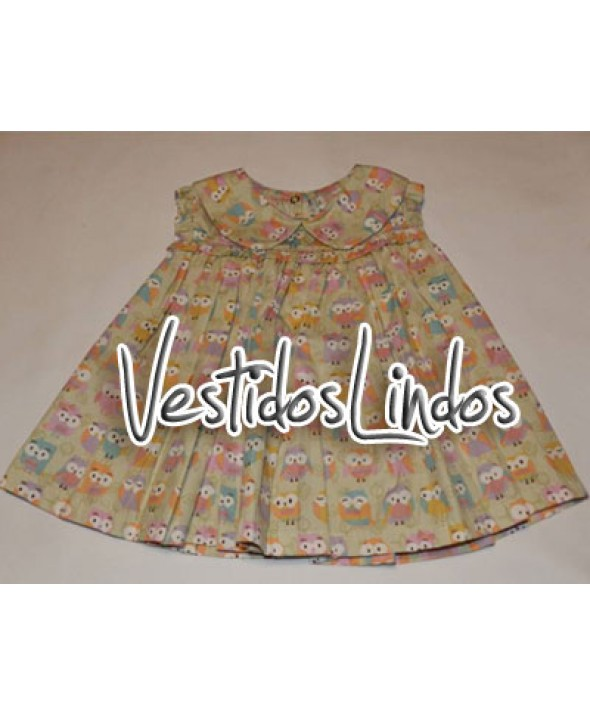 Moda infantil - Vestido Corujinhas