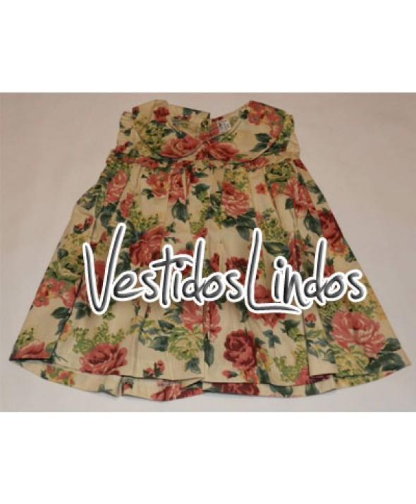 Moda infantil - Vestido floral rosa antigo